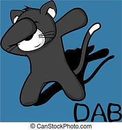 dab dabbing pose cat kid cartoon in vector format very easy...