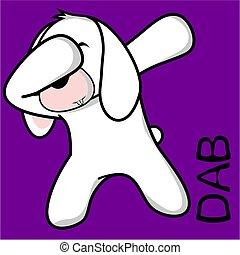 dab, dabbing, pose, coelhinho, criança, caricatura