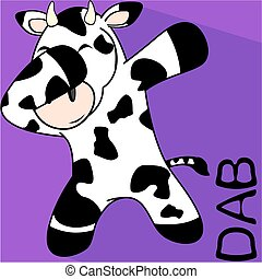 dab dabbing pose cow kid cartoon in vector format very easy...