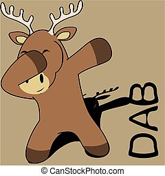 dab dabbing pose deer kid cartoon in vector format very easy...