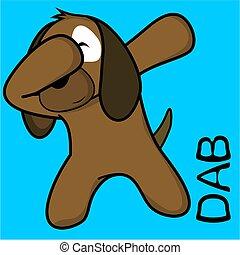 dab dabbing pose dog kid cartoon in vector format very easy...