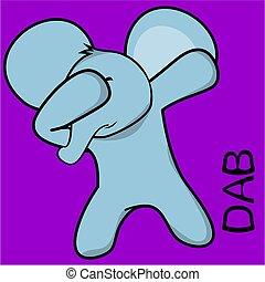 dab dabbing pose elephant kid cartoon in vector format very...