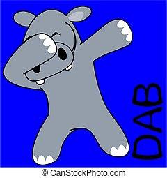 dab dabbing pose hippo kid cartoon - dab dabbing pose animal...