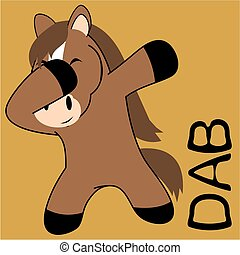dab dabbing pose horse kid cartoon in vector format very...