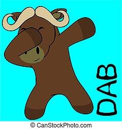 dab dabbing pose ox kid cartoon in vector format very easy...
