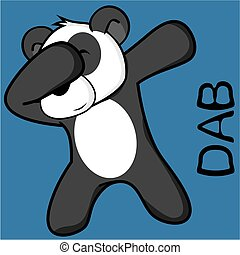 dab dabbing pose panda bear kid cartoon in vector format...