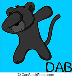 dab dabbing pose panther kid cartoon in vector format very...