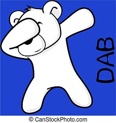 dab dabbing pose polar bear kid cartoon in vector format...