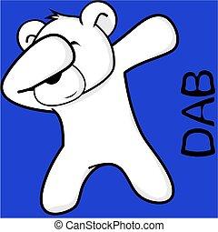 dab dabbing pose polar bear kid cartoon in vector format...