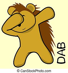 dab dabbing pose porcupine kid cartoon in vector format very...