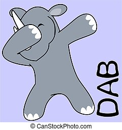 dab dabbing pose rhino kid cartoon - dab dabbing pose animal...