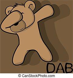dab dabbing pose teddy bear kid cartoon in vector format...