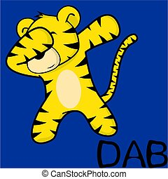 dab dabbing pose tiger kid cartoon in vector format very...