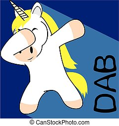 dab dabbing pose unicorn kid cartoon in vector format very...