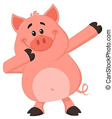 dabbing, carácter, caricatura, cerdo