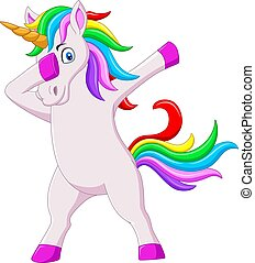 dabbing, carino, cartone animato, unicorno, cavallo, ballo