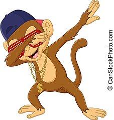 dabbing, cartone animato, sfondo bianco, scimmia