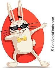 dabbing, cartone animato, vettore, coniglietto pasqua, fresco