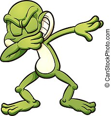 Dabbing cartoon frog. Vector clip art illustration with simple gradients. All in a single layer. EPS10 file included.