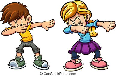 Dabbing cartoon boy and girl. Vector clip art illustration with simple gradients. Each on a separate layer.