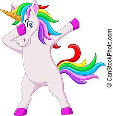 dabbing, lindo, caricatura, unicornio, caballo, bailando
