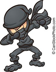 Dabbing cartoon ninja. Vector clip art illustration with simple gradients. All in a single layer.