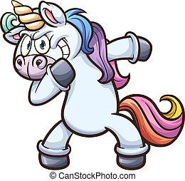 Dabbing cartoon unicorn. Vector clip art illustration with simple gradients. All in a single layer.