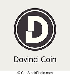 dac, davinci, -, emblem., coin., logotipo, moneda, o, ...