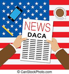 Daca Kids Dreamer Legislation For Us Immigration. Passport For Immigrant Children In The United States - 2d Illustration