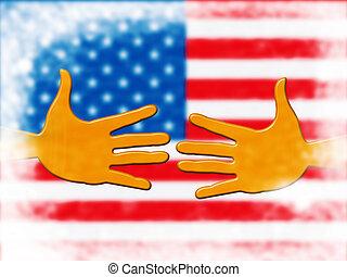 Daca Kids Dreamer Legislation Hands For Us Immigration. Passport For Immigrant Children In The United States - 2d Illustration