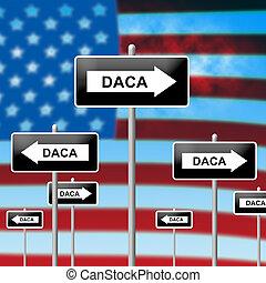 Daca Kids Dreamer Legislation Sign For Us Immigration. Passport For Immigrant Children In The United States - 3d Illustration