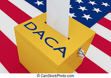 3D illustration of 'DACA' script on a ballot box, with US flag as a background.