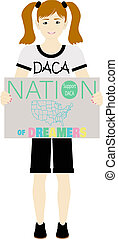 DACA Support Sign Held by Child Illustration