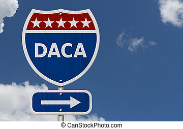 DACA USA Interstate highway sign, Red, white and blue...