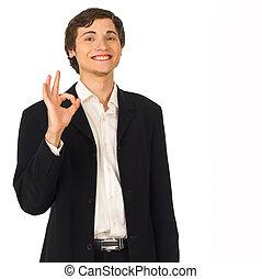 d'accord, business, projection, jeune, sourire, geste, homme