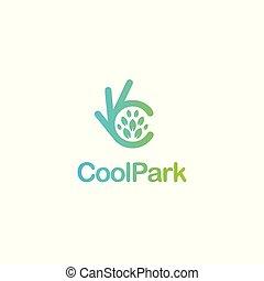 d'accord, eco, essayé, symbole, vecteur, propre, frais, ok, logo., plant.