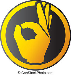 d'accord, -, icône, main humaine, bouton