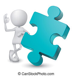 d'accord, projection, signe, homme, main, puzzle, 3d