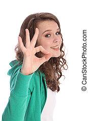 d'accord, reussite, signe, adolescent, sourire, main, girl