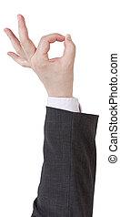 d'accord, signal, -, geste, main