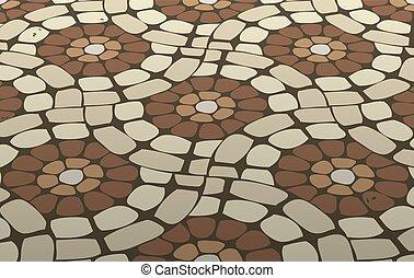 dachówka, wektor, mozaika, podłoga