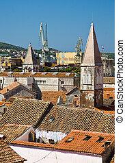 dach, ansicht, von, trogir, alte stadt, kroatien