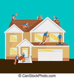 reparatur haus ausr stung drau en werkzeuge dach dachdecker wohnhaeuser arbeit bauen. Black Bedroom Furniture Sets. Home Design Ideas