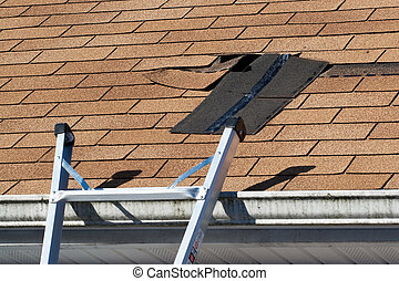 dach, beschädigt, reparatur, schindeln