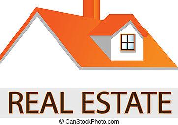 dach, dom, prawdziwy, logo, stan