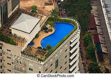 dach, hotel, luxus, luftaufnahmen, teich, ansicht