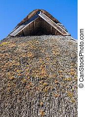 dach, szczelnie-do góry, pokryty, słoma