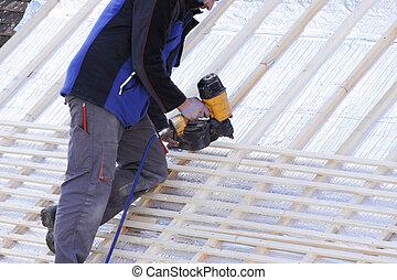 dacharz, pracujący dalejże, niejaki, nowy, dach, w, drewno