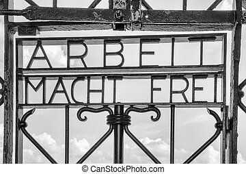 Dachau, Bavaria / Germany - 16 September 2020: view of the historic entracne gate at Dachau Concentration Camp near Munich