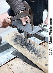 dachdecker, mit, a, spezialist, hammer